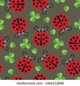 Cute Ladybird Bug in Lucky Irish Leaf Background Seamless pattern. Baby summer clothing water color texture.