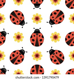 Cute ladybird seamless pattern. Red ladybirds, and yellow flowers on isolated white background. For children fabric, backdrop, textile, texture, wallpaper, etc. EPS-10 vector, printable CMYK colors.