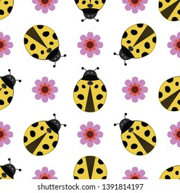 Cute ladybird seamless pattern. Yellow ladybirds, and purple flowers on isolated white background. For children fabric, backdrop, textile, texture, wallpaper etc. EPS-10 vector, printable CMYK colors.