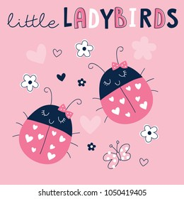 cute ladybirds ladybugs vector illustration