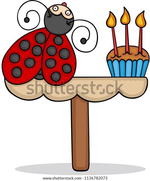 Fantastic Cute Ladybug Birthday Cake Stock Vector Royalty Free 1136782073 Funny Birthday Cards Online Elaedamsfinfo
