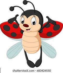 Elegant Cute Ladybug Cartoon