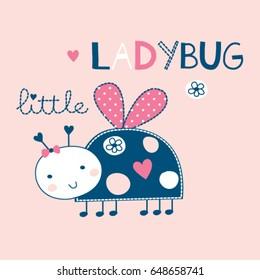 cute ladybug cartoon vector illustration, T-shirt design for kids