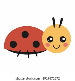 A cute ladybug for a children's book. A small beetle with big eyes. Vector illustration in the style of a cartoon for a children's book.