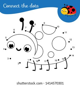 Cute ladybug. Connect the dots. Dot to dot by numbers activity for kids and toddlers. Children educational game