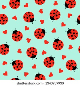 Cute Ladybug and hearts Seamless Pattern Background Vector Illustration