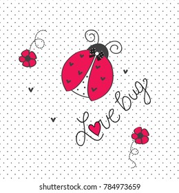 cute ladybug on polka dots backgorund vector illustration