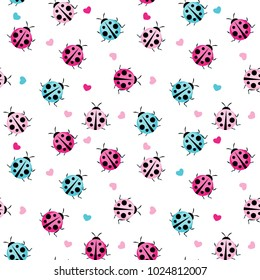 Cute Ladybug Seamless Pattern Background Vector Illustration EPS10