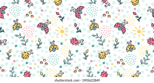 Cute ladybug seamless pattern. Ladybird cartoon character childrens illustration. Lady-beetle floral summer vector pattern with insects, sun, plants for kids, baby, textile, fabric, packaging