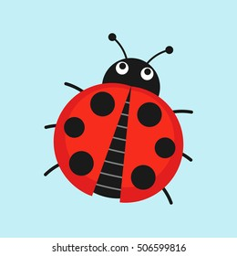 Cute Ladybug vector illustration in flat style. Cartoon beetle ladybug isolated from the background.