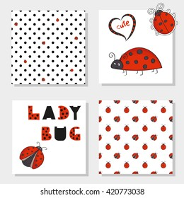 Cute ladybugs set. Collection of ladybirds seamless pattern and characters. Vector backgrounds for your design.