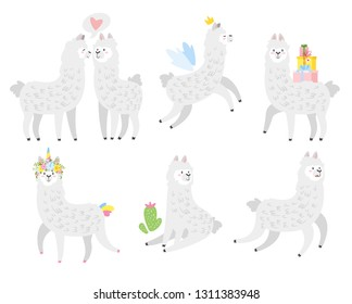 Cute lama. Alpaca animal set. Vector illustration, isolated on white background. Design for poster, sticker or t-shirt.