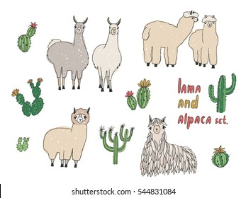 Cute Lama, Alpaca and cactuses set. Hand drawn vector illustration