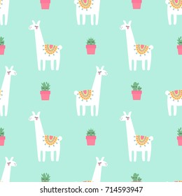 Cute lama with cacti seamless pattern on mint green background. Vector baby animal illustration for kids. Child drawing style lama. Design for fabric, wallpaper, textile and decor.