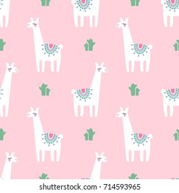 Cute lama with cacti seamless pattern on pink background. Vector baby animal illustration for kids. Child drawing style lama. Design for fabric, wallpaper, textile and decor.
