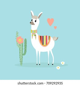 Cute lama and cactus on a blue background. Kids illustration in vector.