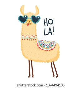 Cute lama character. Print for fabric, t-shirt, poster, wallpaper, wrapping paper, card, baby shower. Vector illustrtion EPS10