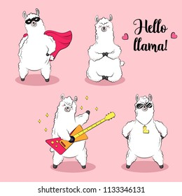 Cute lama, doodle vector illustration. Collection of cartoon characters, stickers, patches