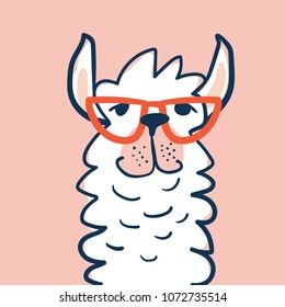 Cute Lama face with glasses. Childish print for fabric, t-shirt, poster, card, baby shower. Vector Illustrtion