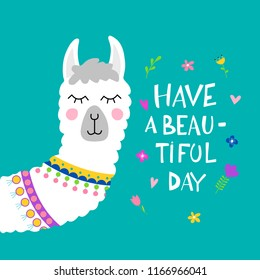 Cute Lama face. Vector illustration with llama for poster, case, textile, invitation etc.