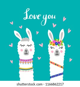 Cute Lama faces. Happy Valentine's Day. dayVector illustration with llama for poster, case, textile, invitation etc.