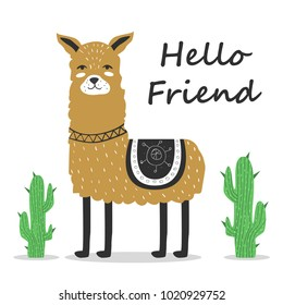 Cute. Lama. Greeting. Scandinavian. Funny. Children's. Print, postcard.