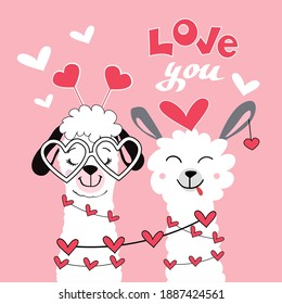Cute lama with a heart. Couple for valentine's day. Inscription Love you on a pink background. Vector illustration of cartoon funny animals