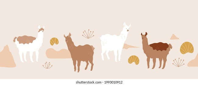 Cute lama. Seamless pattern with alpaca, abstract hills, grass, domestic animals. Vector illustration for packaging, textile, wallpaper. Natural brown colors. Desert landscape.