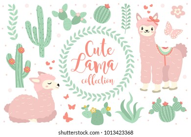 Cute lama set objects. Collection design elements with llama, cactus, lovely flowers. Isolated on white background. Alpaca princess character. Kids baby clip art  funny smiling animal. Vector