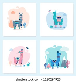 Cute Lamas Cards with mountains and cactus in vector. Perfect for posters, stickers, greeting cards, notebooks and other childish accessories.