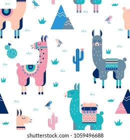 Cute Lamas with mountains and cactus seamless pattern. Perfect for fabric, posters, stickers, greeting cards, notebooks and other childish accessories.