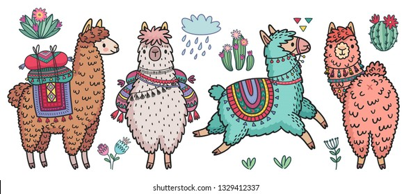 Cute Lamas standing and running. Funny hand drawn characters with cacti. Vector illustration.