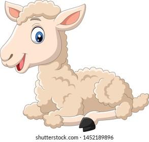 Cute lamb cartoon sitting isolated on white background