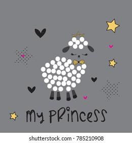 cute lamb, my princess lamb vector illustration