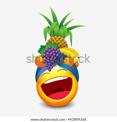 e722af54995 Cute Laughing Emoticon Wearing Fruit Hat Stock Vector (Royalty Free ...
