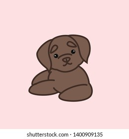 Cute Laying Down Chocolate Labrador Retriever From Front Dog Cartoon Vector Illustration for Print or Kids Shirt Design
