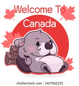 Cute lazy beaver canadian symbol kawaii character social media post mockup. Welcome to Canada typography. Poster, card template with mascot and maple leaves. Social media content, print design layout