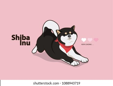 Cute Lazy Black Shiba Inu. Black Shiba dog is lazy and stretch oneself in the winter morning. Design with flat coloring style.