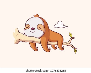 Cute lazy sloth baby sleeping on a branch cartoon illustration
