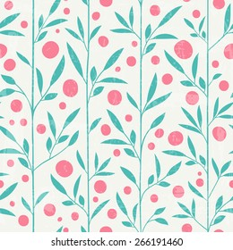 Cute leaf pattern with grunge texture. Vector