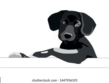 Cute leaning puppy in cartoon format.