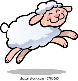 cute leaping lamb vector illustration