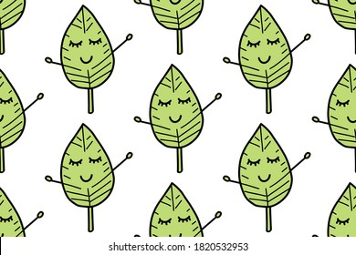 Cute leave seamless pattern. Cartoon green garden leaf, fall leaf and fallen dry leaves. Doodle botanical forest plant tree foliage. For your fabric, textile design, wrapping paper or wallpaper.