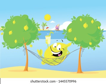 Cute Lemon Character Have a Rest in Hammock on the Beach - Vector Illustration