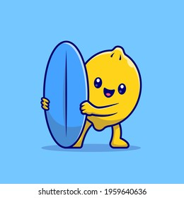 Cute Lemon Surfing With Surfboard Cartoon Vector Icon Illustration. Food Holiday Icon Concept Isolated Premium Vector. Flat Cartoon Style