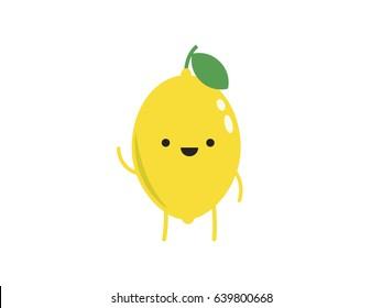 Cute lemon waving. Isolated vector. Cute