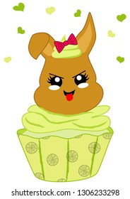 cute lemons cupcake with bunny in kawaii style. Vector file eps 10