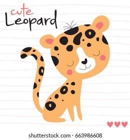 cute leopard animal t-shirt design vector illustration