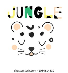 Cute leopard face. Hand drawn jungle animal face in scandinavian style. For kids fashion prints and design. Nursery decoration
