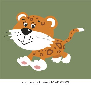 Cute leopard or jaguar cartoon character, flat colorful drawing funny jungle tropical animal. Vector illustration isolated on white background.